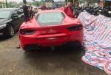Siêu xe Ferrari trị giá 16 tỷ được cho là của Tuấn Hưng gặp tai nạn, đầu xe biến dạng hoàn toàn