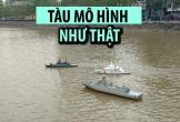 Mô hình tàu quân sự chạy băng băng dưới nước của nghệ nhân Hải Phòng