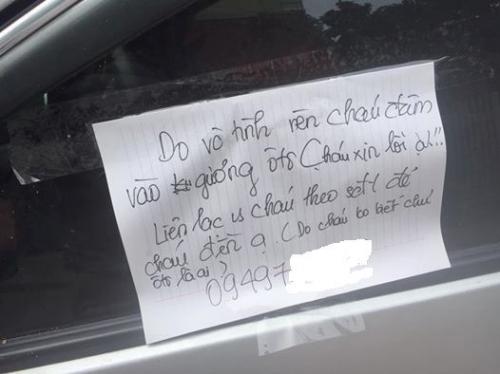 Mảnh giấy ghi lời xin lỗi